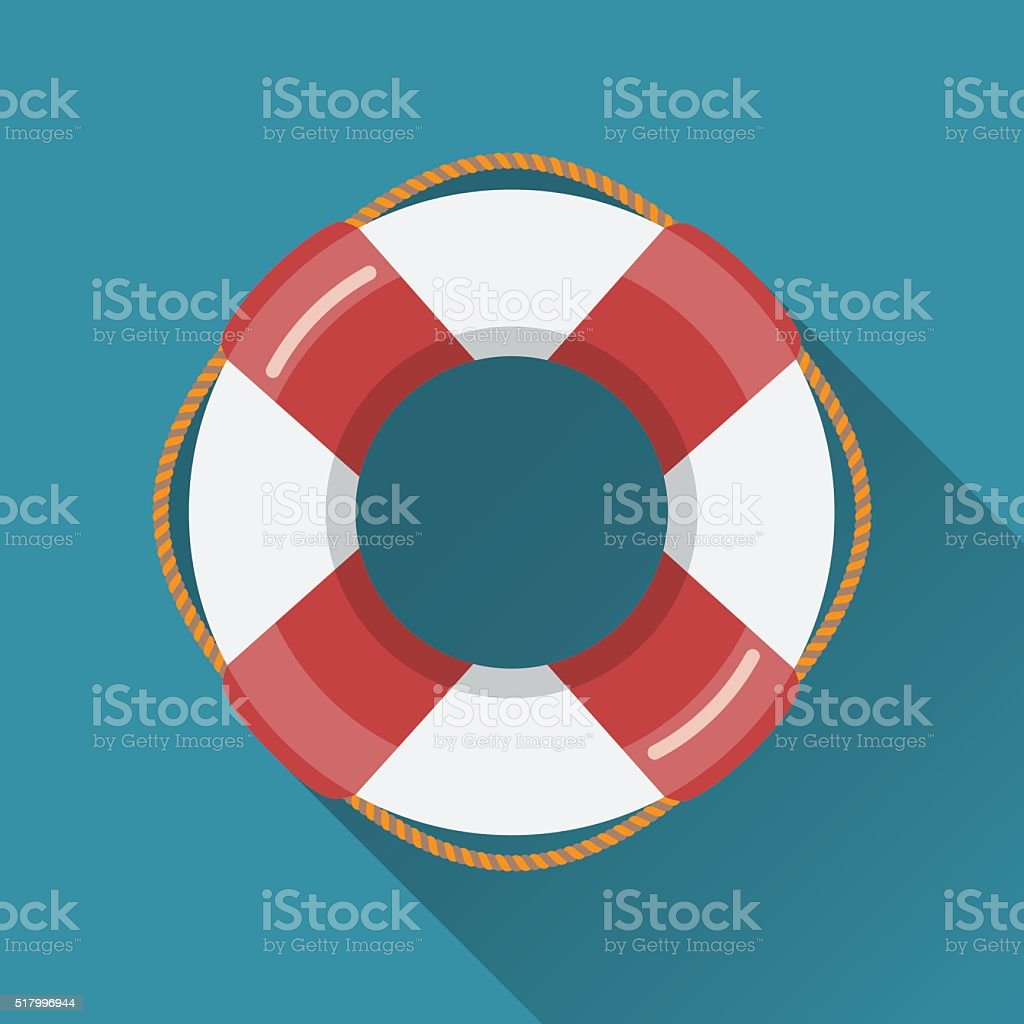 Lifebuoy flat icon vector art illustration