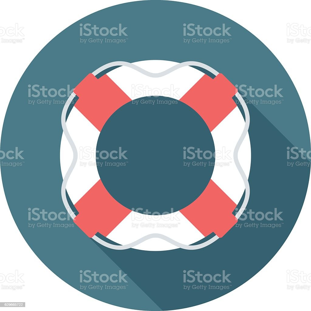 Lifebuoy icon with long shadow. vector art illustration
