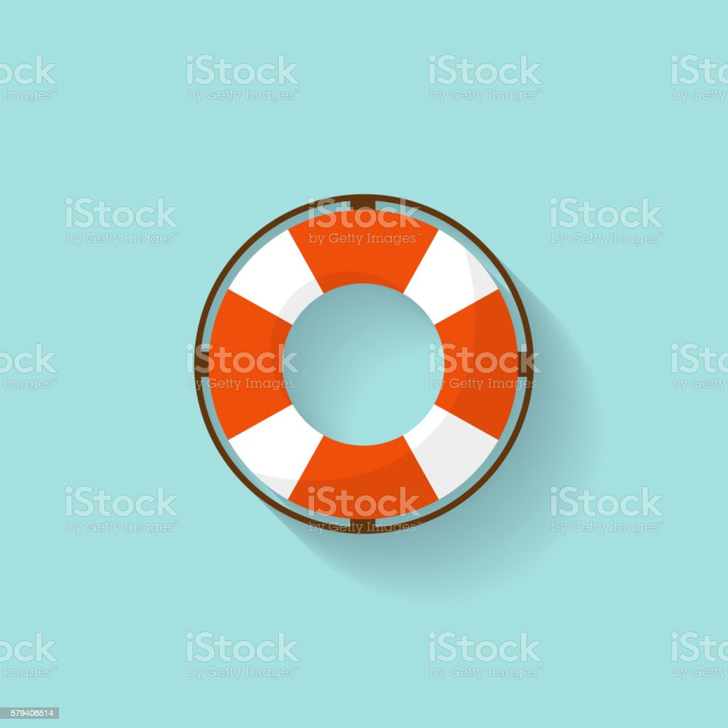 Lifebuoy in a flat style. Protection equipment for swimming. Summer vector art illustration