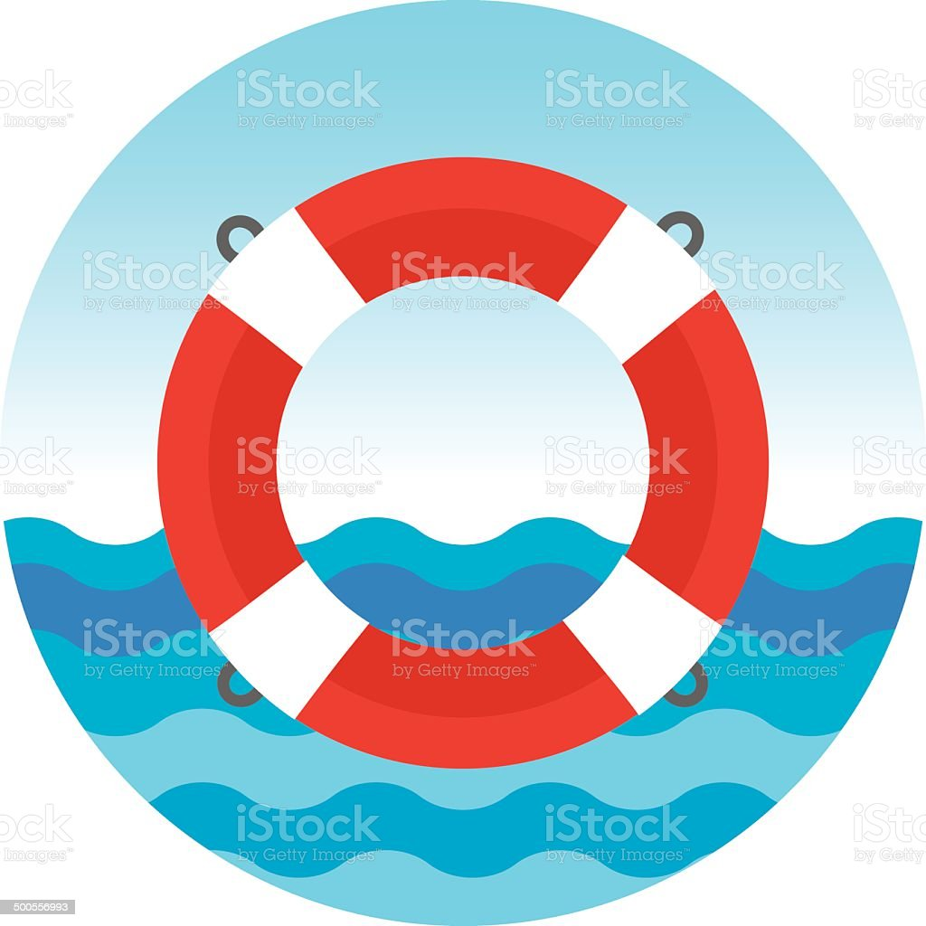 Lifebuoy in blue sea vector art illustration