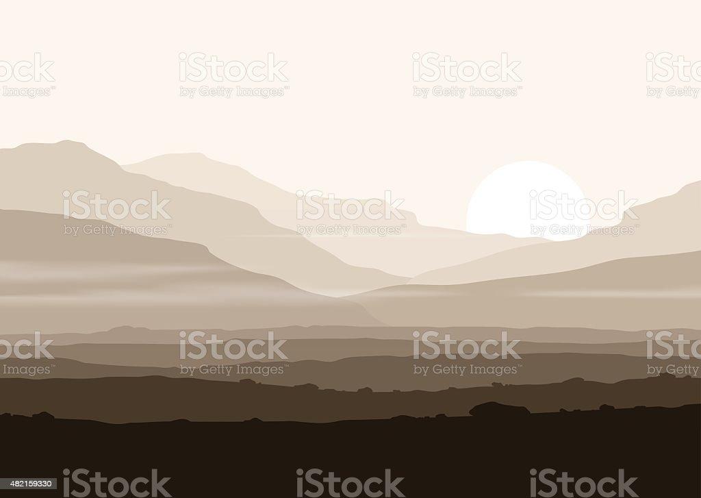 Lifeless landscape with huge mountains over sun. vector art illustration