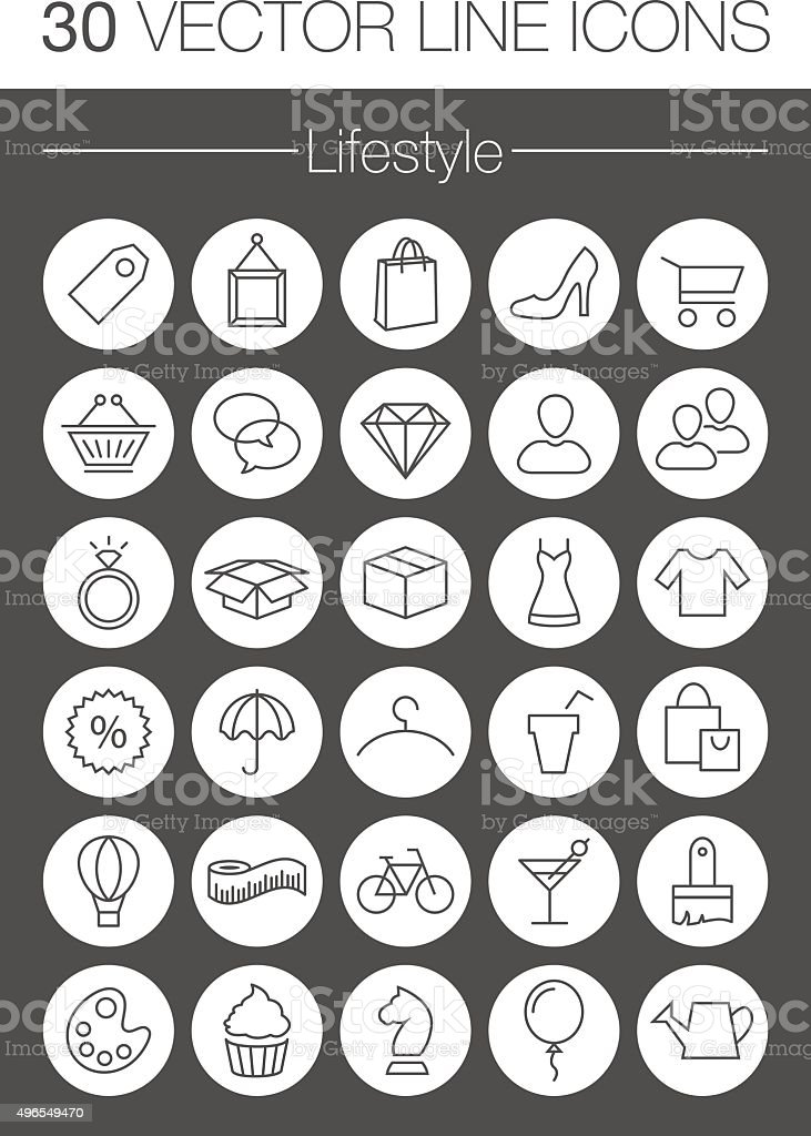 lifestyle vector icons set vector art illustration