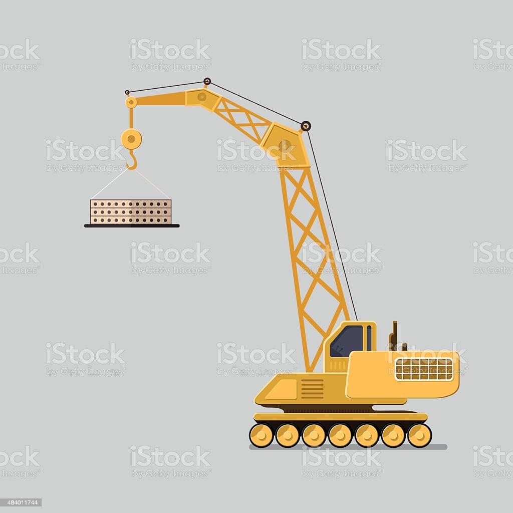 Lifting crane doing heavy lifting. Flat style vector icons. vector art illustration
