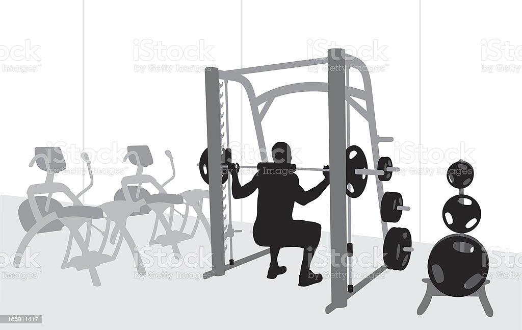 Lifting Weights Vector Silhouette royalty-free stock vector art