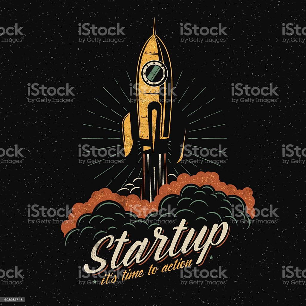 lifts off rocket vector art illustration