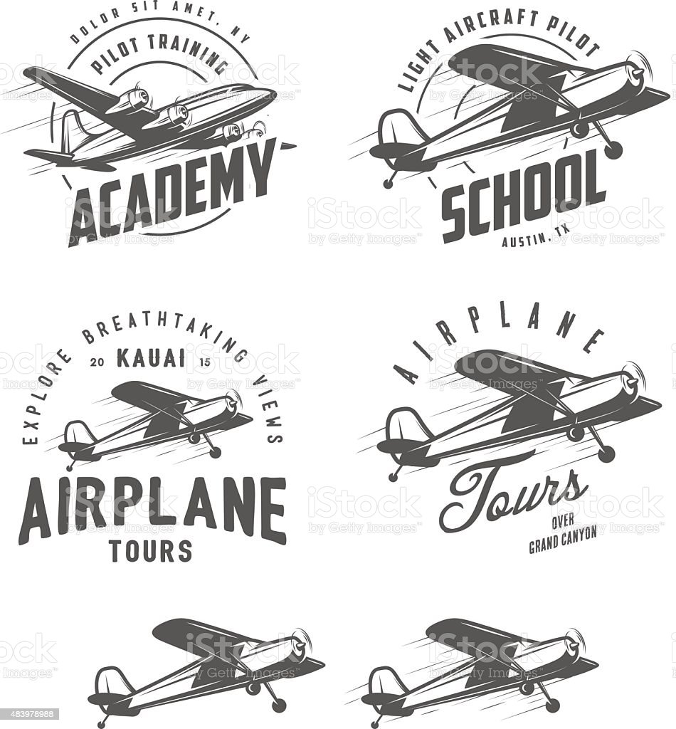 Light airplane related emblems, labels and design elements vector art illustration