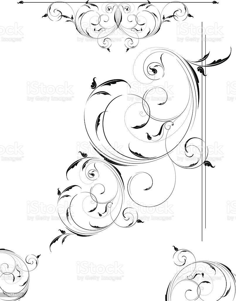 Light Airy Scrollwork set royalty-free stock vector art