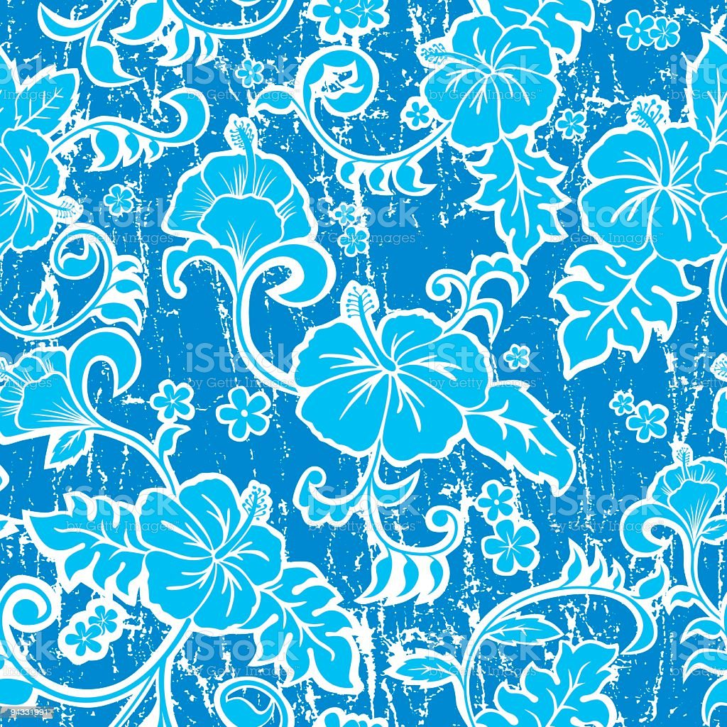 Light and dark blue Hawaiian wallpaper with no seams  vector art illustration