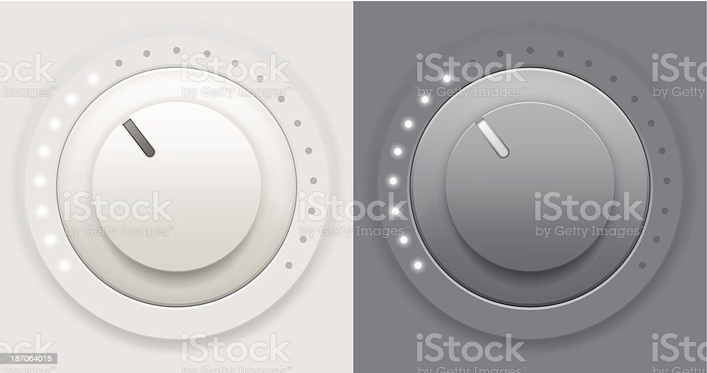 Light and dark volume knobs vector art illustration