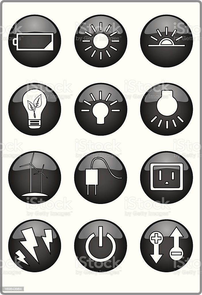 Light and energy icons royalty-free stock vector art
