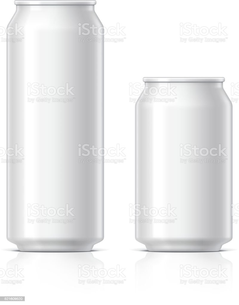 light and shiny aluminum cans vector art illustration