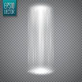 UFO light beam isolated on transparent background. Magic spotlight. Vector