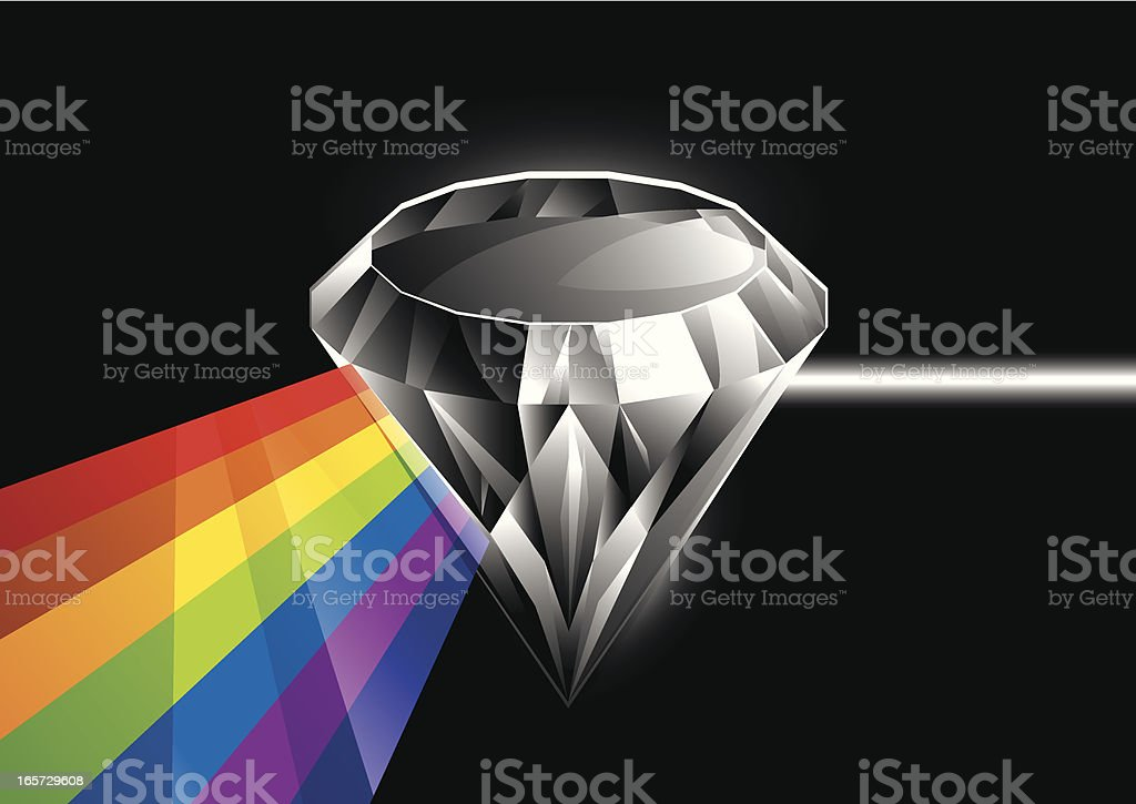 Light Beam Through Diamond royalty-free stock vector art