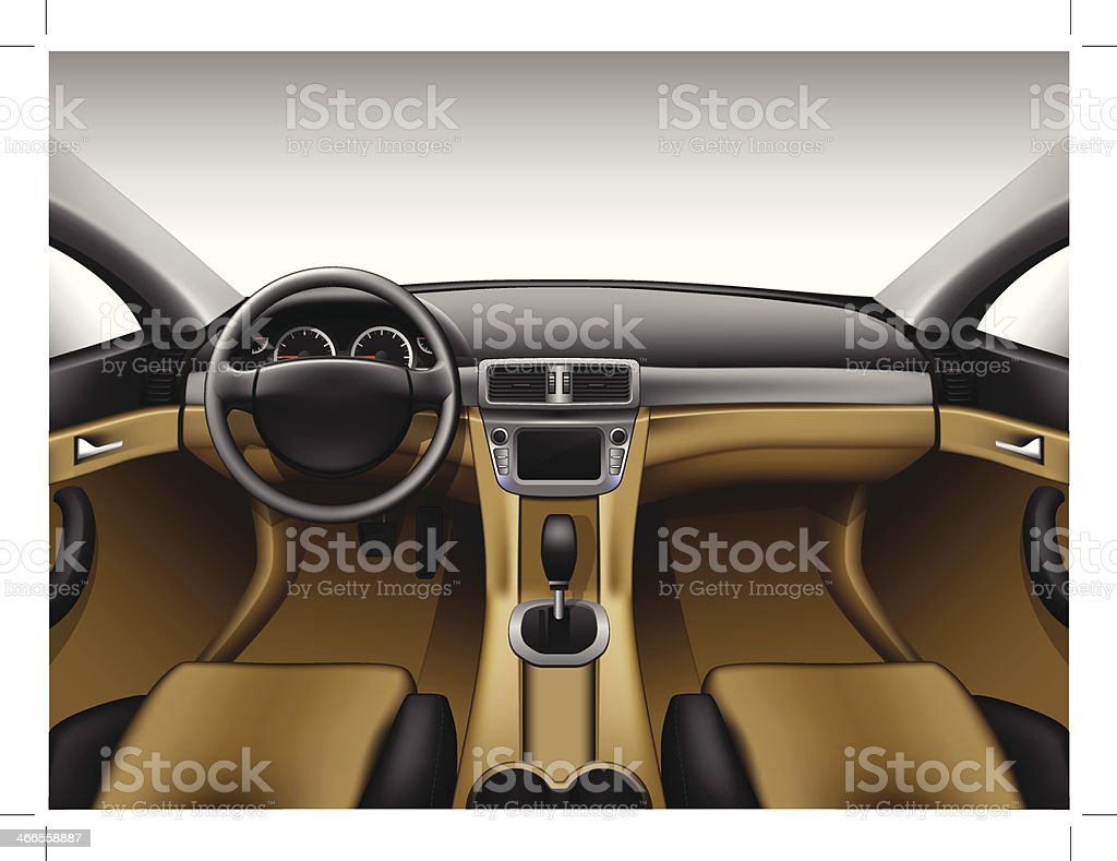 Light beige leather car interior vector art illustration