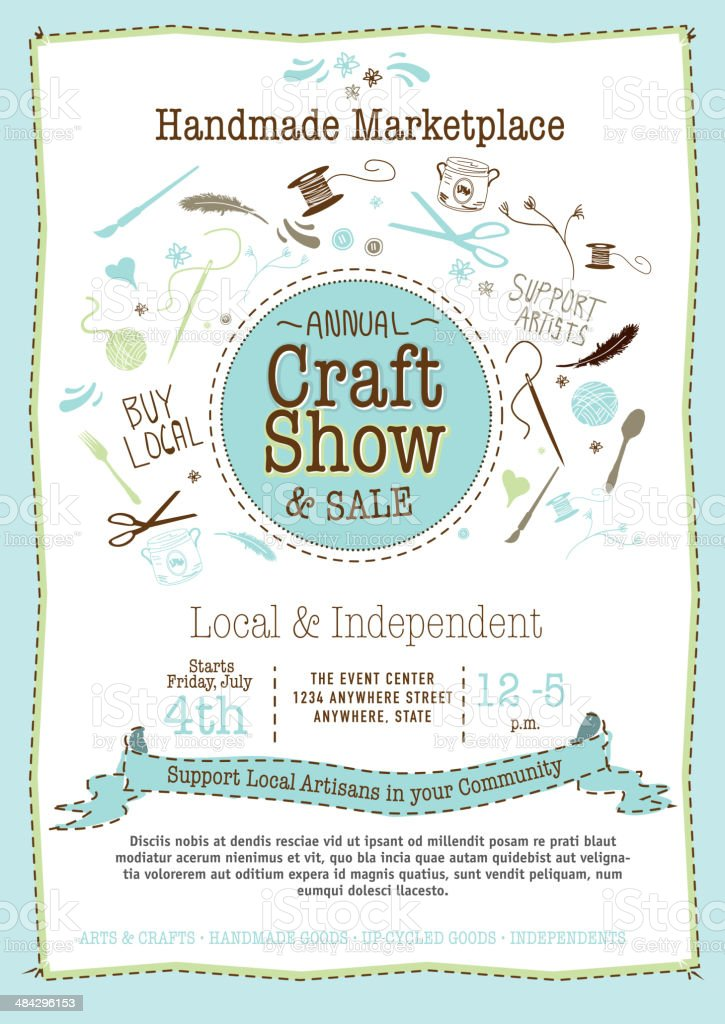 Light blue Craft show and sale poster design template royalty-free stock vector art