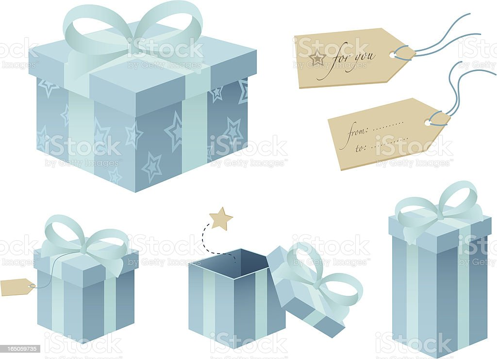 Light Blue Gift Boxes royalty-free stock vector art