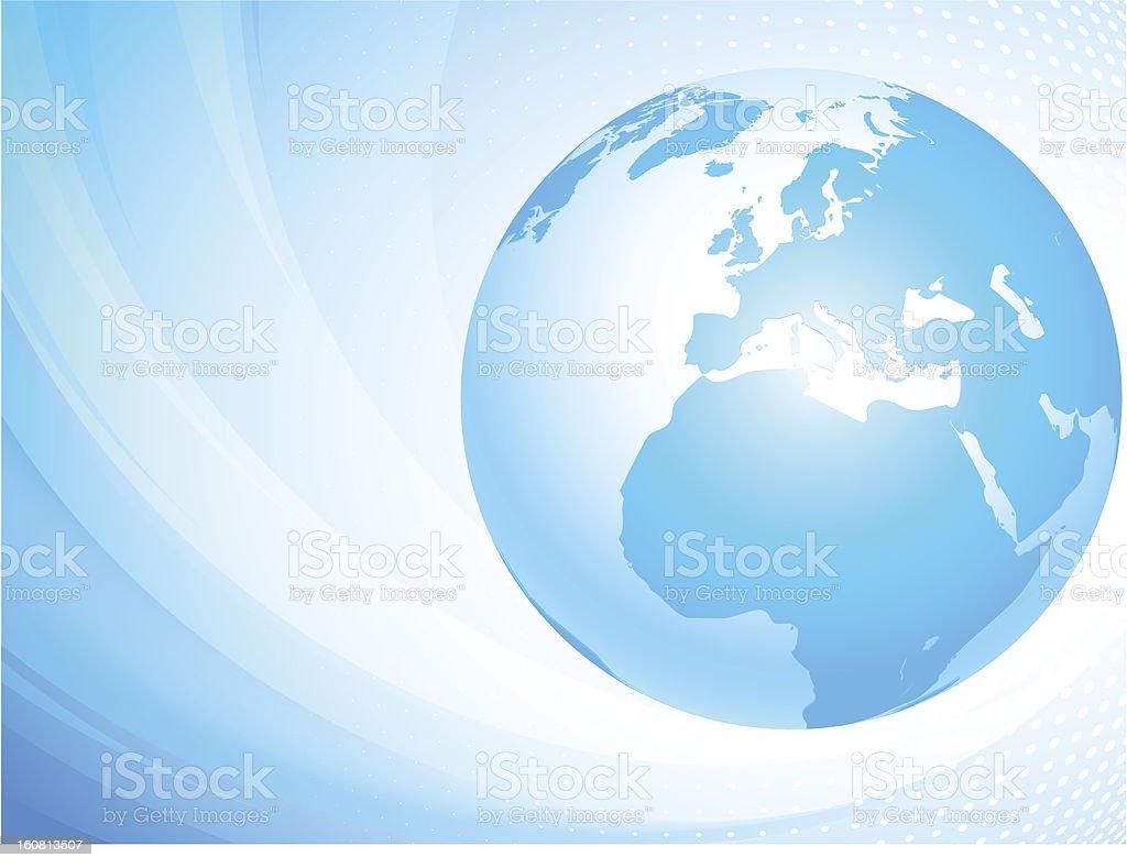Light blue globe. Europe. royalty-free stock vector art