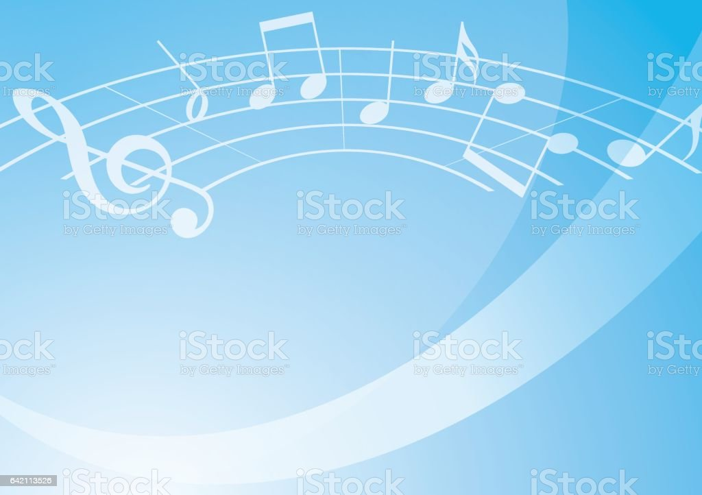 light blue music background with gradient - vector vector art illustration