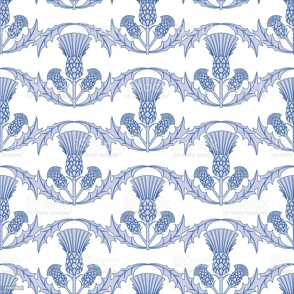 Light Blue Scottish Thistle Wavy Repeating Pattern vector art illustration