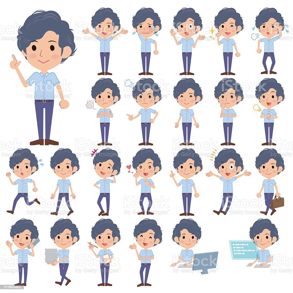Light blue shortsleeved shirt perm men vector art illustration