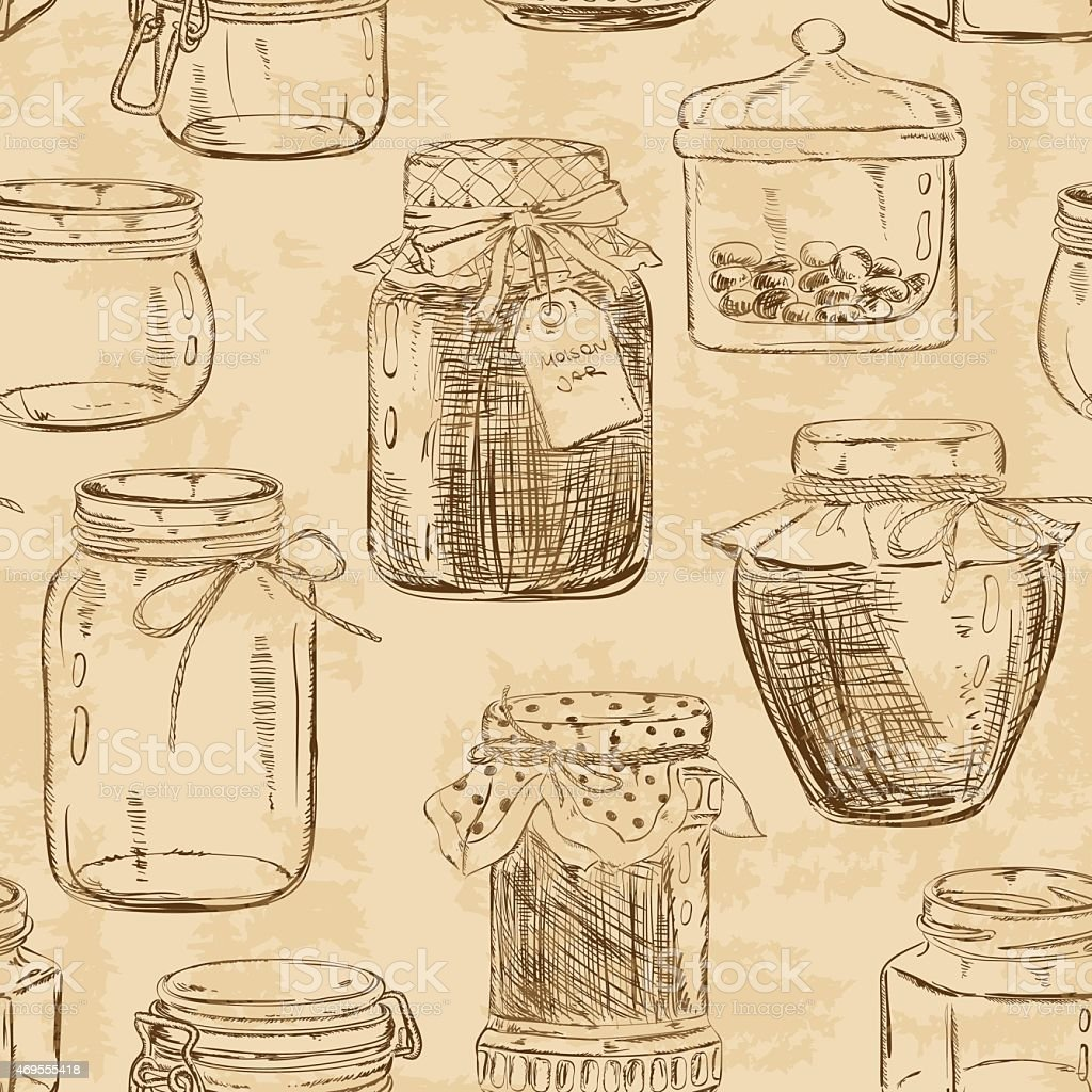 Light brown background pattern of decorated mason jars vector art illustration