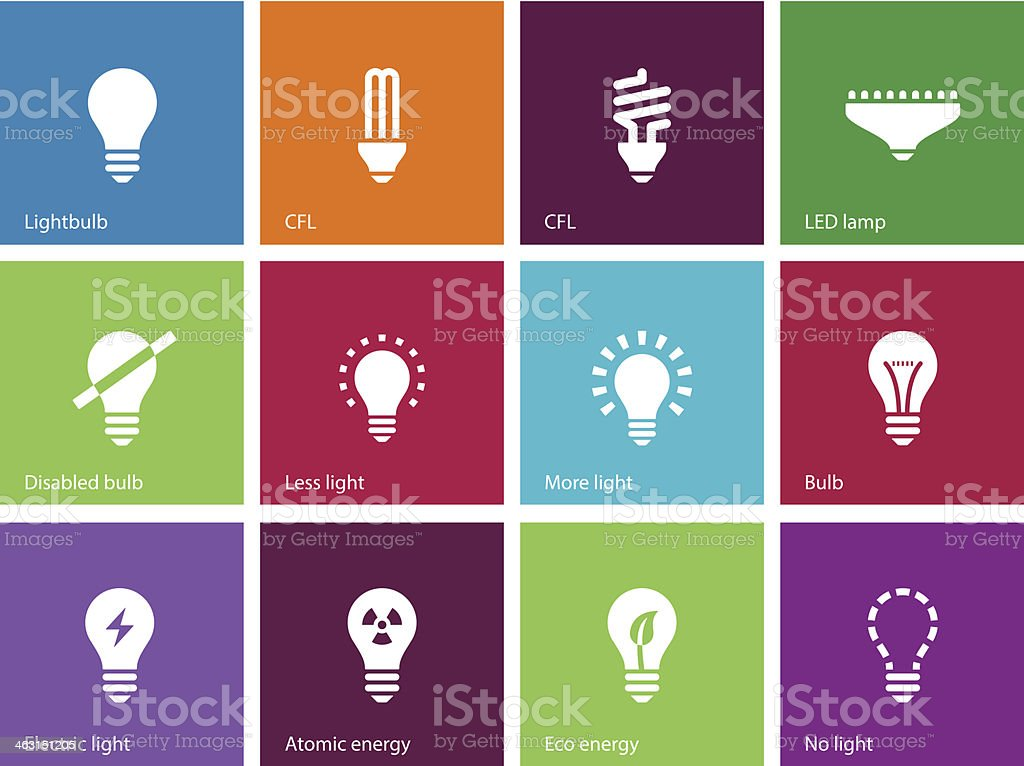 Light bulb and CFL lamp icons on color background. vector art illustration