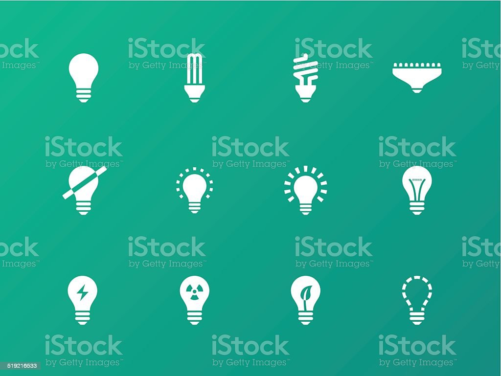 Light bulb and CFL lamp icons on green background. vector art illustration