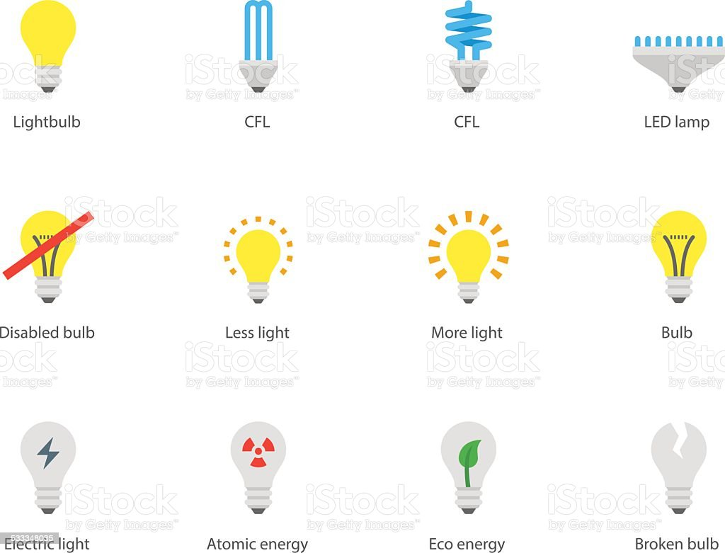 Light bulb and CFL lamp icons on white background. vector art illustration