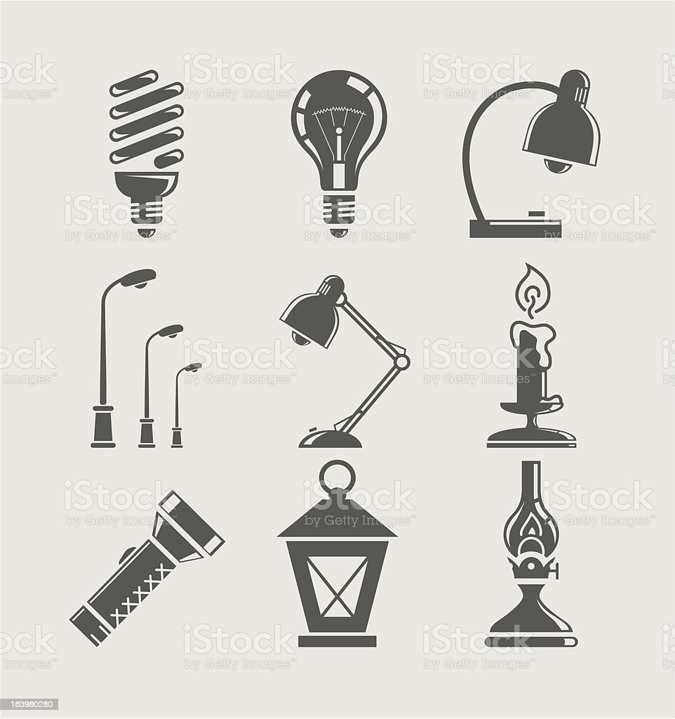 light bulb and lighting appliance. set icon vector art illustration