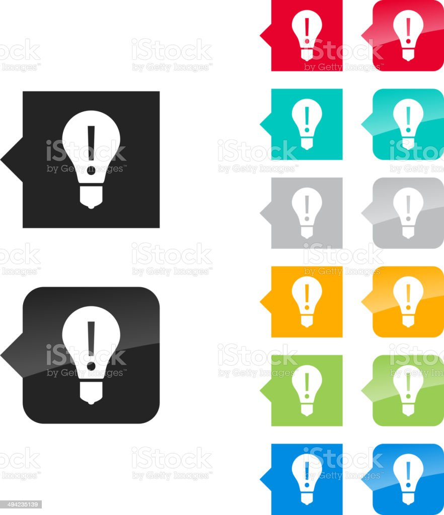 Light bulb, attention icon for UI - flat and glossy. vector art illustration