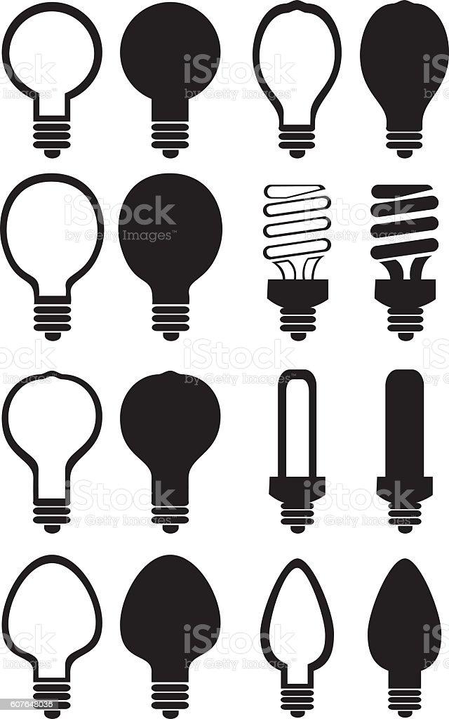 Light Bulb Black and White Vector Icon Set vector art illustration