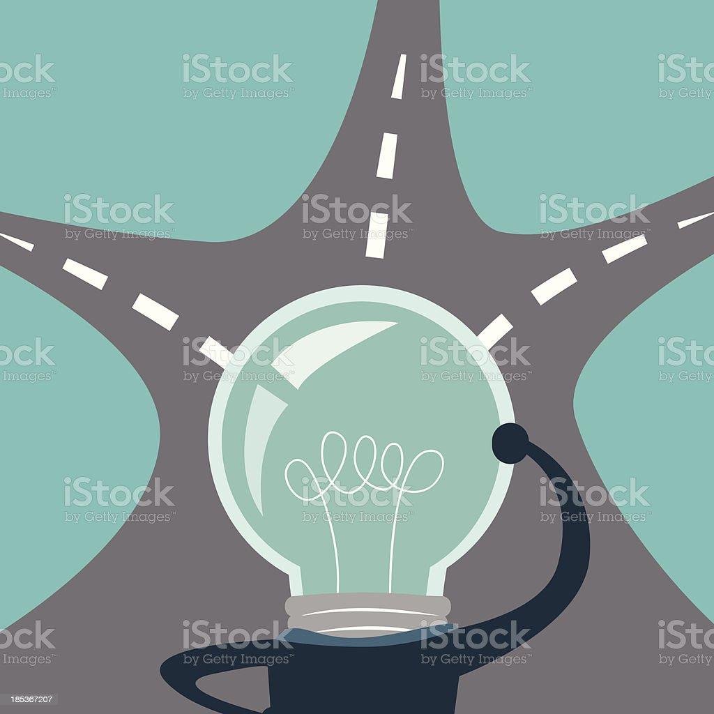 light bulb business man think vector art illustration