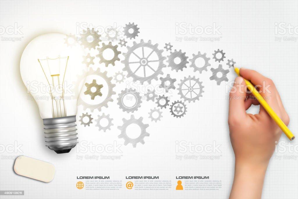 Light bulb concept infographic vector vector art illustration