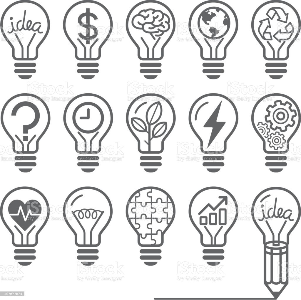 Light bulb concept line icons style. vector art illustration