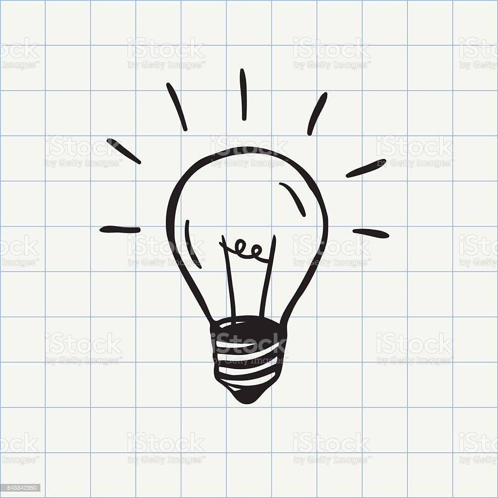 Light bulb doodle icon vector art illustration