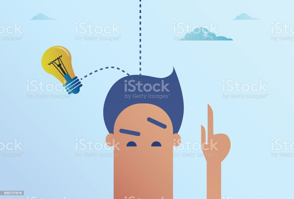 Light Bulb Falling On Business Man Head New Idea Concept vector art illustration