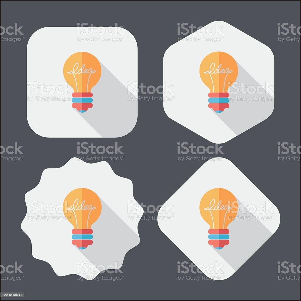 Light bulb flat icon with long shadow,eps10 vector art illustration