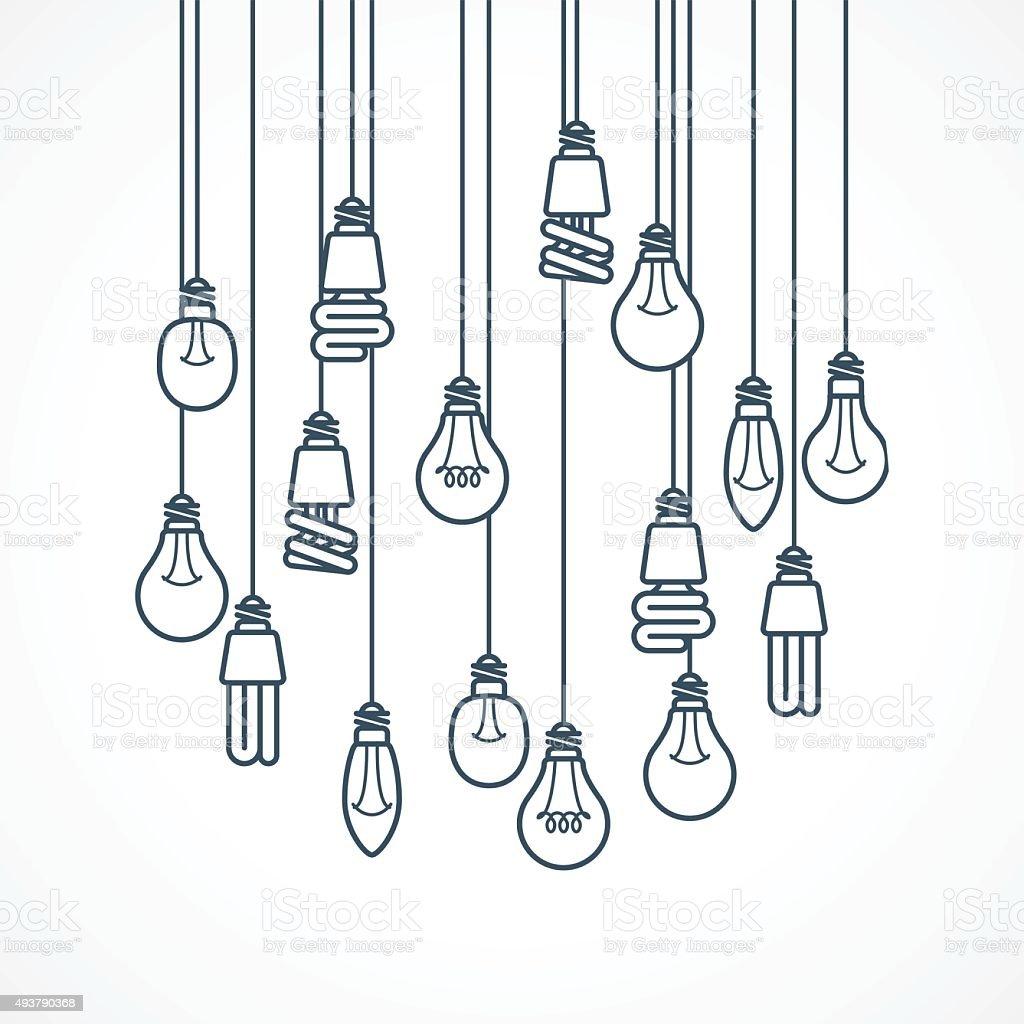 Light bulb hanging on cords - lamps vector art illustration