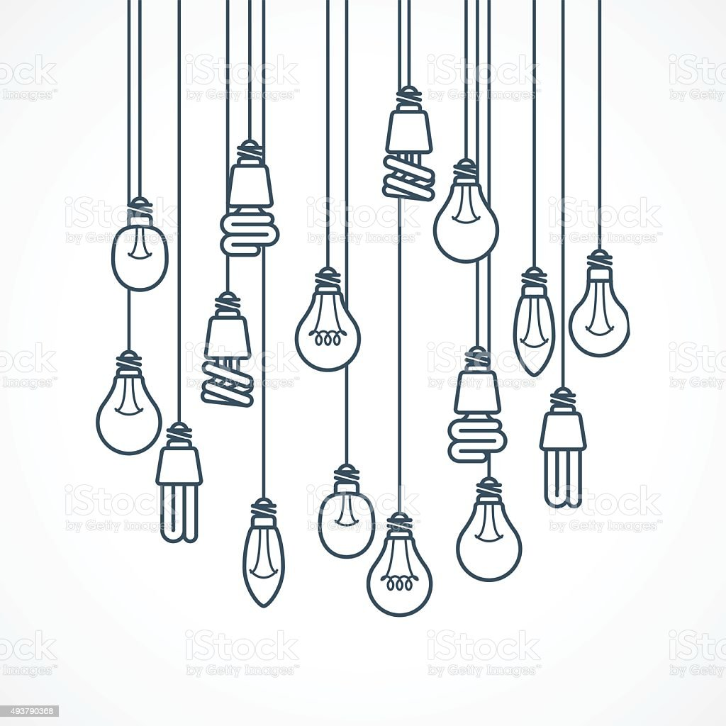 Light bulb hanging on cords - lamps vector art illustration
