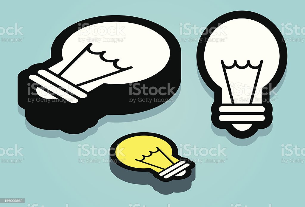 light bulb icon, flat and isometric royalty-free stock vector art