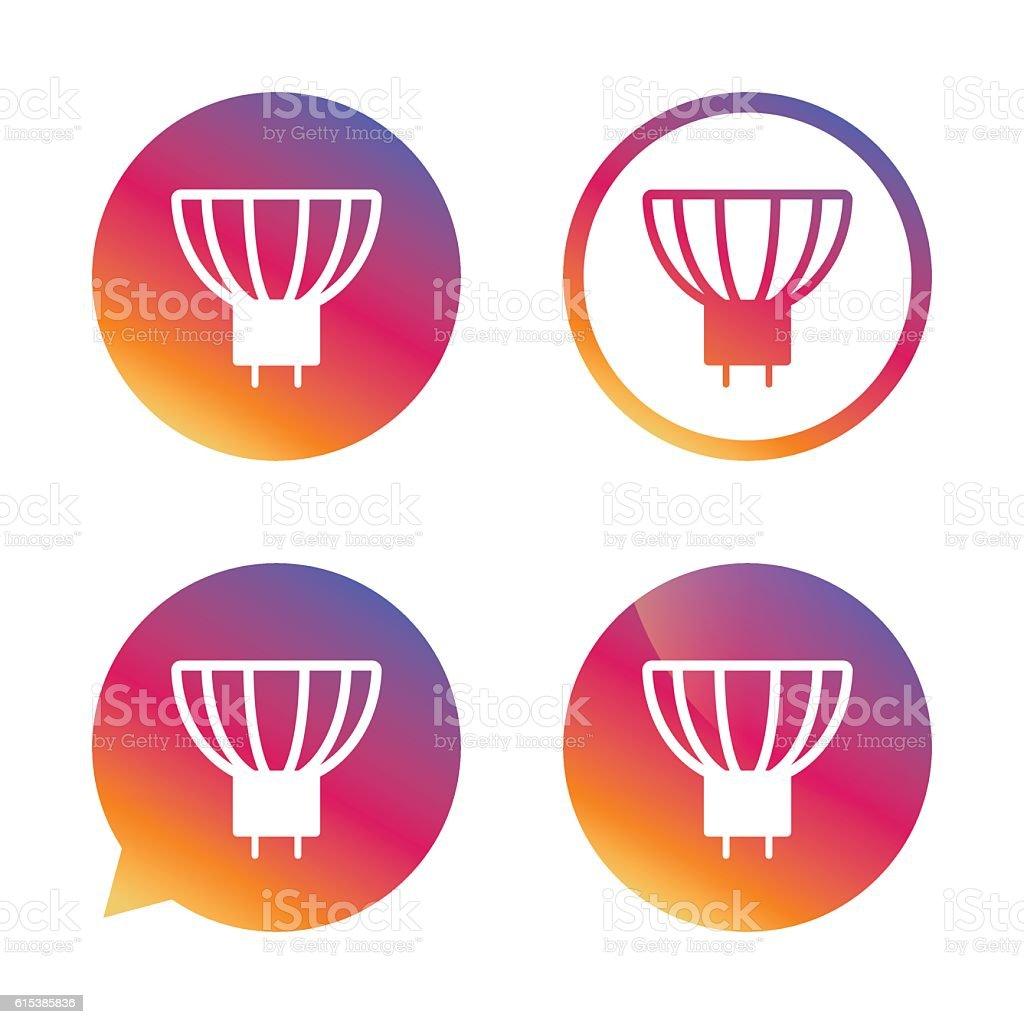 Light bulb icon. Lamp GU5.3 socket symbol. vector art illustration