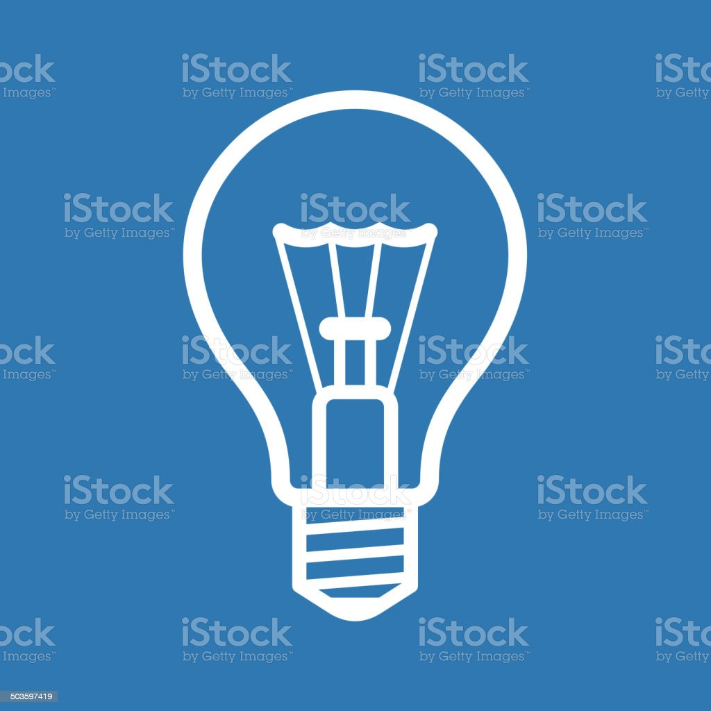 Light Bulb Icon on Blue Background. Vector royalty-free stock vector art