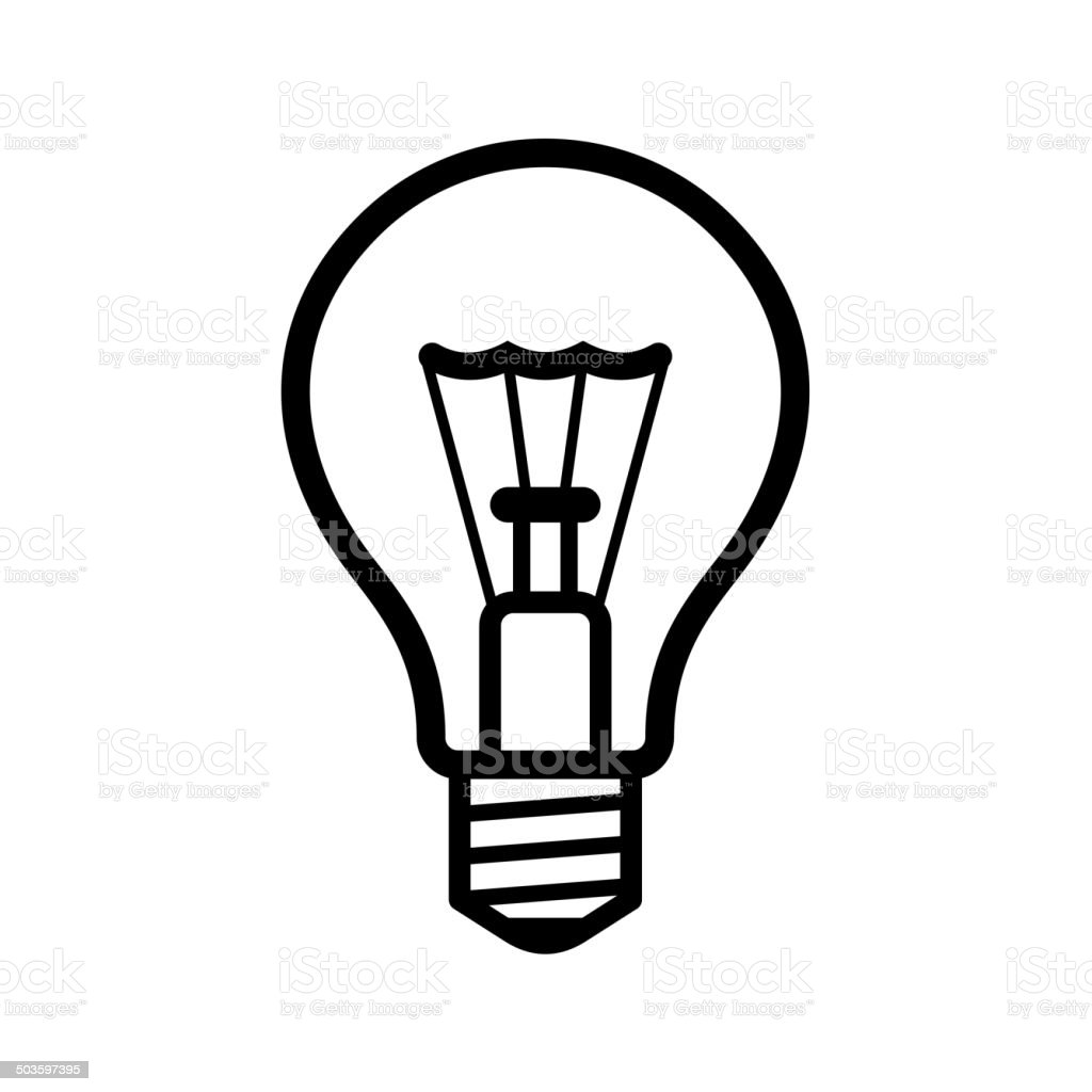 Light Bulb Icon on White Background. Vector royalty-free stock vector art