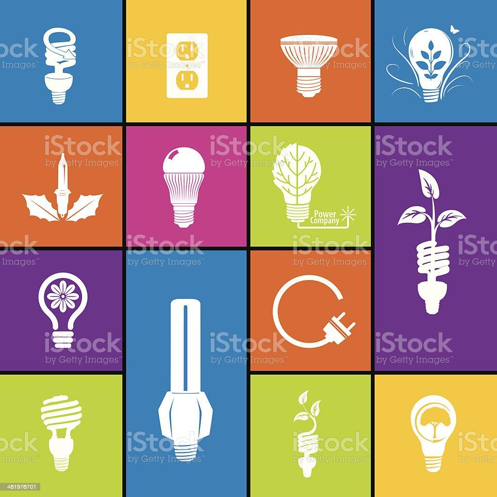 Light Bulb Icon Set In Bold Colors vector art illustration