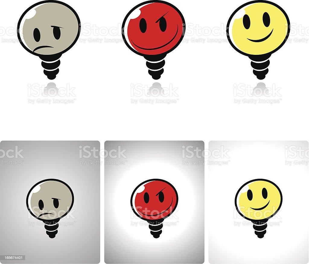 Light Bulb icon set: no idea, bad and good ideas royalty-free stock vector art