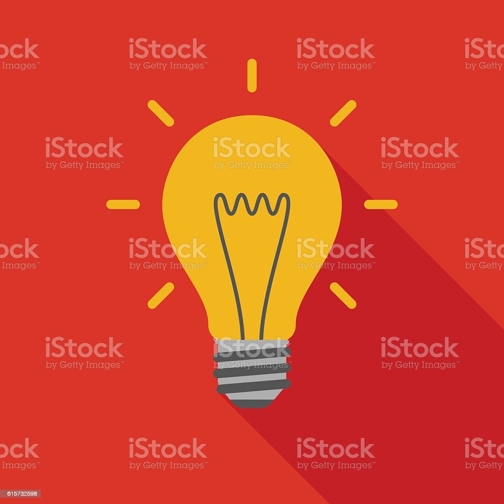 Light bulb icon with long shadow. vector art illustration