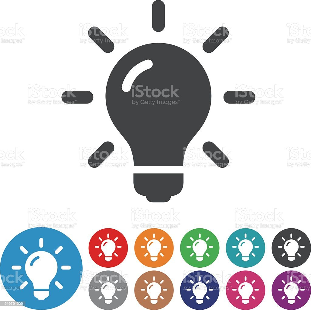 Light Bulb Icons - Graphic Icon Series vector art illustration