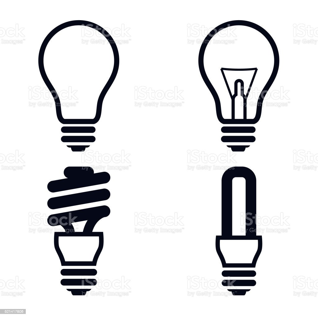Light Bulb Icons Illustration - VECTOR vector art illustration