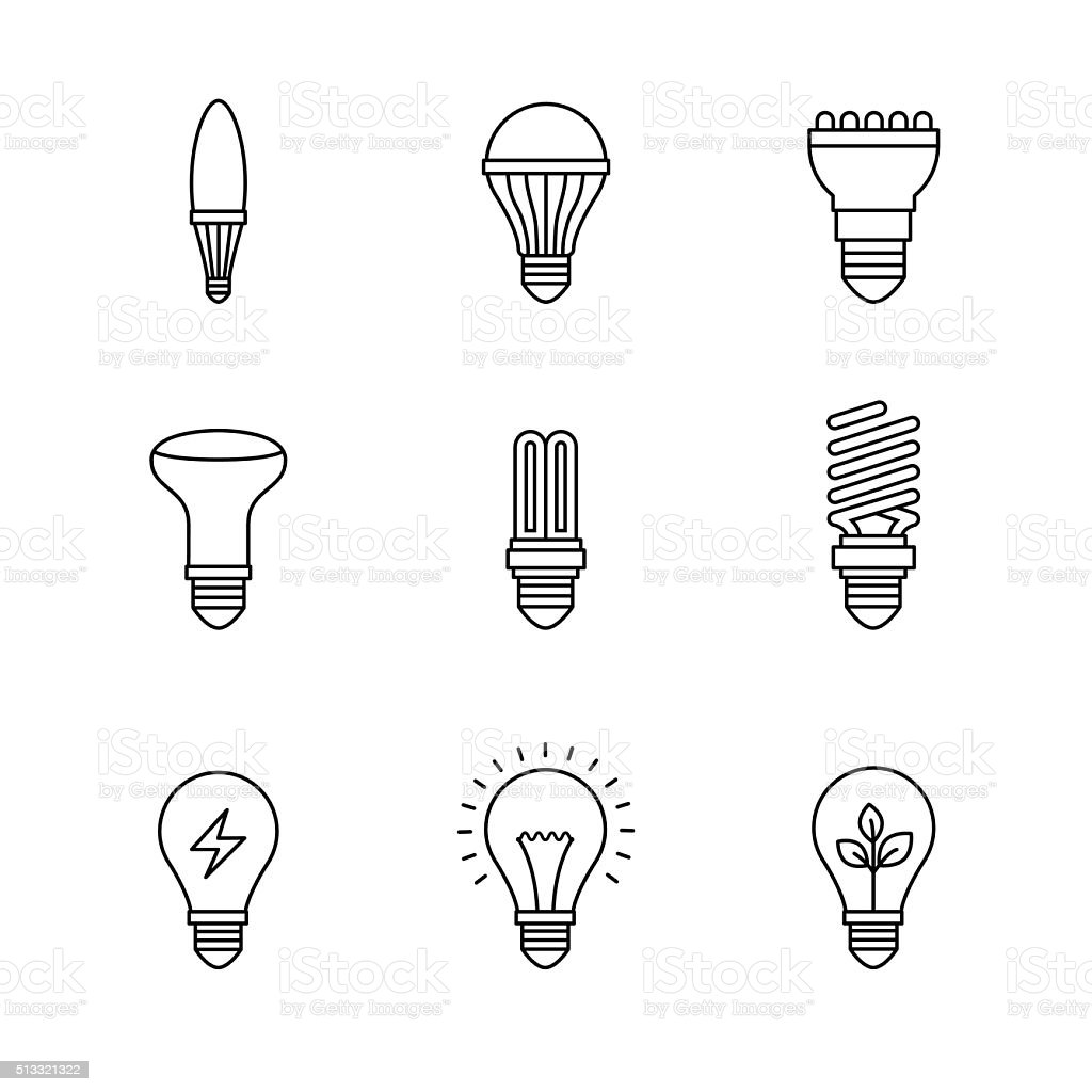 Light bulb icons thin line art set vector art illustration