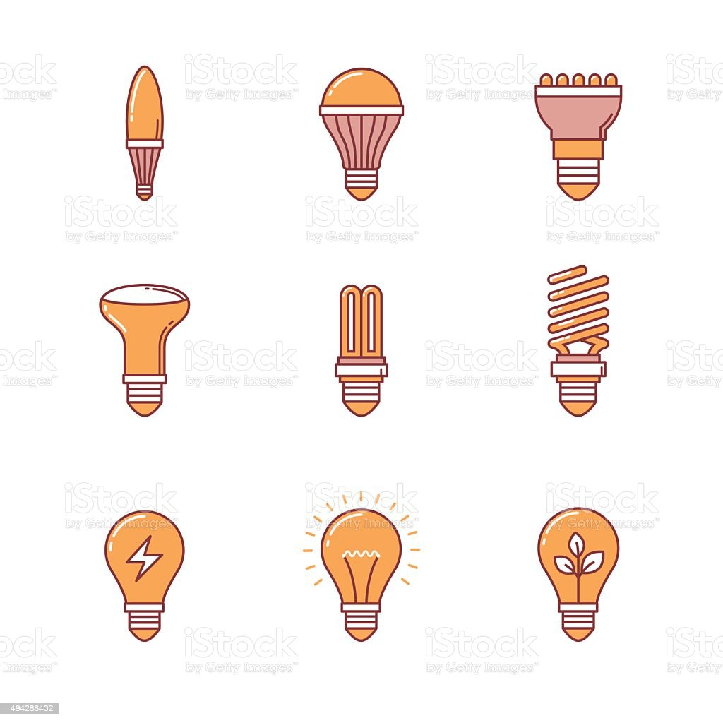 Light bulb icons thin line set vector art illustration